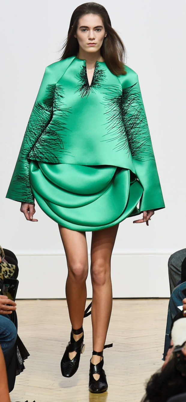 A model on the catwalk wearing a design by JW Anderson at London Fashion Week Photo: Getty Images