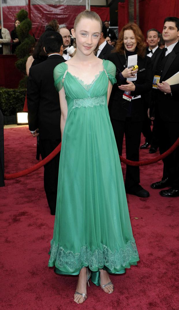 2008: Saoirse Ronan in green at her first Oscars ceremony.