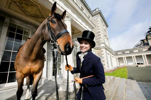 Rachel Wyse with Dante at the launch of the Carton House Most Stylish Lady competition ahead of the Irish Grand National. Photo: Andres Poveda