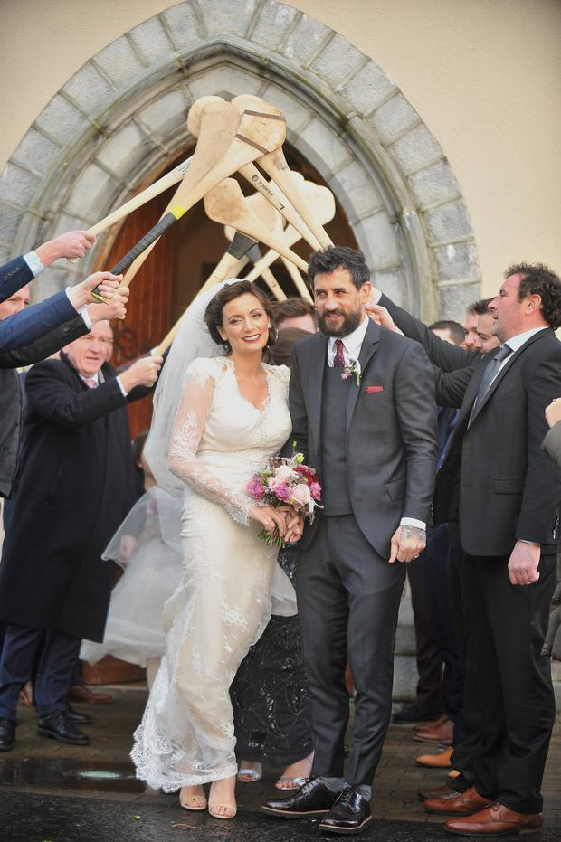 Today FM Presenter Louise Duffy and Kerry Footballer Paul Galvin after their wedding ceremony. Photo: Conor McKeown