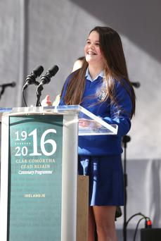 Lilly Whelehan (14) from the Ursuline Convent, in Thurles, Co Tipperary, who spoke about her great, great, great, great grand uncle Thomas Francis Meagher. Photo: Damien Eagers