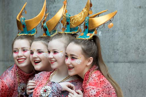 Cork: Siún Condon, Amy Clarke, Caoimhe Dunne and Amy Gill of Brightlights Studios Fermoy – as part of the LUXe, Legacy of Optimism – perform at the Cork St Patrick's Festival Parade. Photo: Claire Keogh