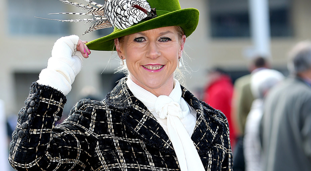 Mary Mitchell from Cork wears a St Patrick's Dayinspired Philip Treacy hat at Cheltenham Photo: Gerry Mooney