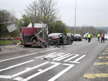 Scene of the accident near Mallow, in which one man died. Photos: John Doheny