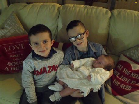 Evan and Mark with baby sister Rioghnach-Ann