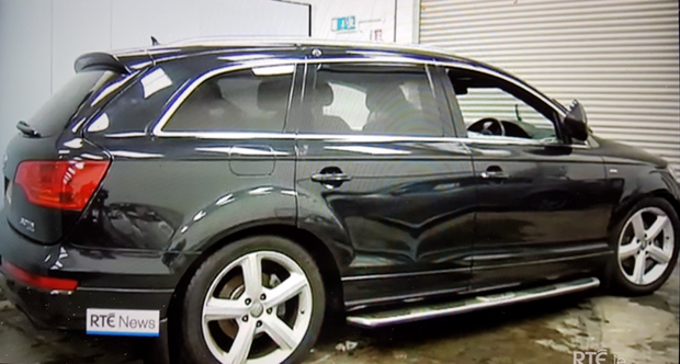 The Audi Q7 after it was pulled out of the lough. Photo: RTÉ
