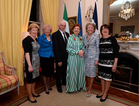 Breege O'Donoghue after receiving her medal with her sisters and brother, left ro right; Ursula Nally, Ann Flanagan, Michael O'Donoghue, Breege O'Donoghue, Mary Benett and Patricia Hannigan. Photo: Caroline Quinn