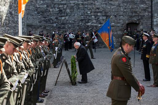 President Michael D Higgins as he lays a wreath at the Stonebreakers' Yard in Kilmainham Jail, where rebels were executed for their part in the 1916 Easter Rising, as part of the Easter Rising centenary commemorations in Dublin. Photo: Mark Condren