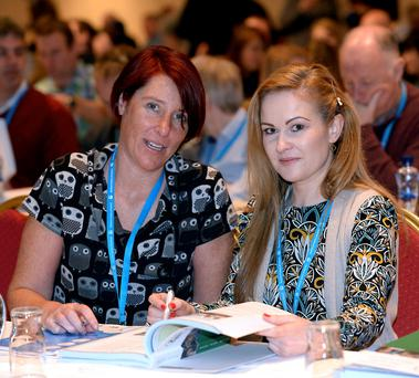 Heather MacCarthy and Maura Curtin from the Co Limerick branch at the TUI conference. Photo: Don MacMonagle
