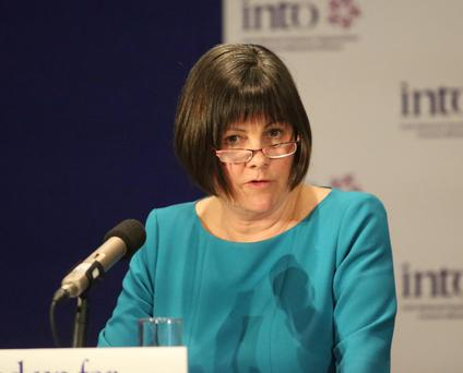 INTO general secretary Shiela Noonan speaking at the conference yesterday. Photo: Mary Browne