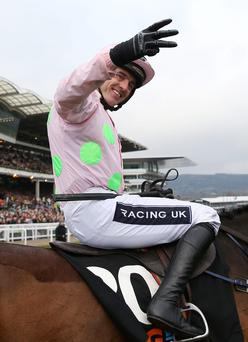 Ruby Walsh suffered an injury scare a week before the start of the Grand National meeting after spraining his left ankle in a fall at Clonmel yesterday. Photo: Reuters