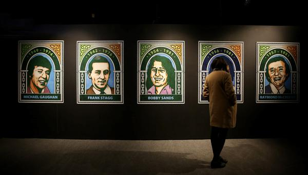 Images of IRA hunger strikers on display as part of Revolution 1916 in the Ambassador theatre in Dublin. Picture; Gerry Mooney