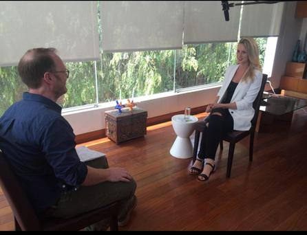 ON PAROLE: Drug smuggler Michaella McCollum yesterday, recording an interview for RTE television