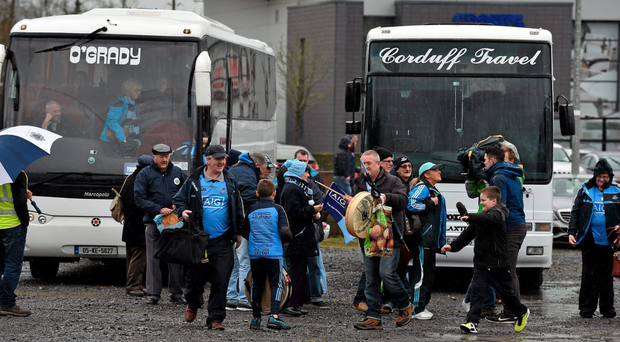 Dublin supporters arrive by coach before the game. Please note that the buses pictured are private buses that were no way involved in the confusion over fans charged