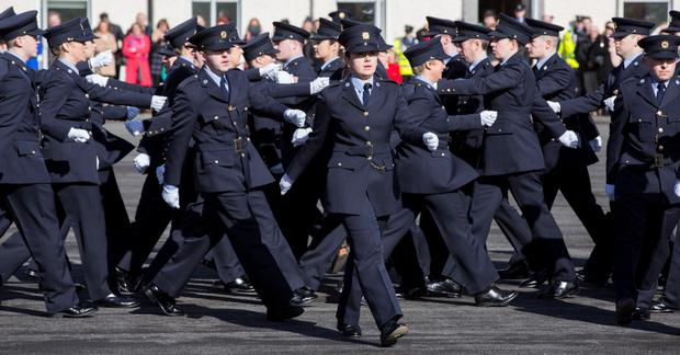HARD WORK: Newly recruited gardai marching at their graduation ceremony at the Garda College last month in Templemore, Co Tipperary. Photo: Mark Condren