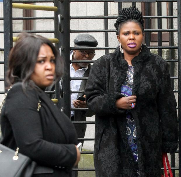 Afolashade Nuga (left) and her mother Elizabeth leaving the court yesterday (Photo: Courtpix)