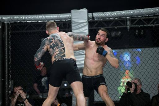 Portuguese MMA fighter Joao Carvalho (right) during the fight against Charlie Ward. Photo: Dave Fogarty