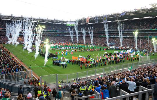 Fireworks are set off as part of Laochra at Croke Park yesterday. Photo: Frank McGrath