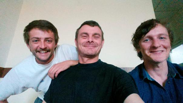 Jac Holmes, Joe Akerman and Joshua Molloy from Ballylynan, Co Laois, take a selfie in Erbil after their release from jail in a Kurdish-controlled area of northern Iraq. Photo: Joe Akerman/PA