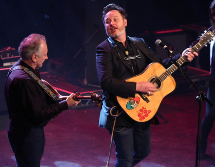 Mundy and Donal Lunny on stage Photo: Damien Eagers