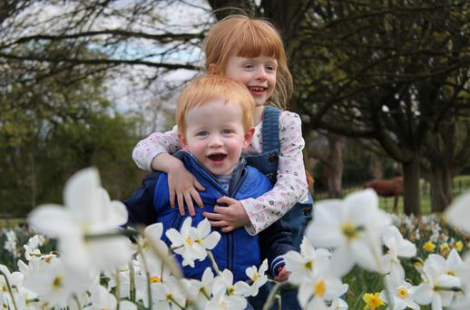 Conor and Gemma Mooney enjoy the spring weather during a visit to Farmleigh in the Phoenix Park. Photo: Gerry Mooney
