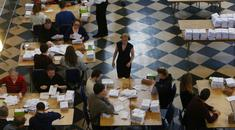 Staff begin counting votes at Trinity College for the election of the new Seanad. Photo: Sam Boal/Rollingnews.ie