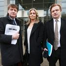 Brian O'Donnell with daughter Blaise and son Blake at UCD for the Bank of Ireland AGM. Photo: Frank McGrath