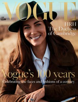 In vogue: The front cover of the centenary issue, featuring Kate Middleton Photo: Josh Olin