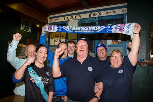 Brian Mason (centre) with Leicester fans (from left) Pat Murphy, Louise Haughton, Alan Ball, Sean McCrory, Terry McCrory and Vera Mooney