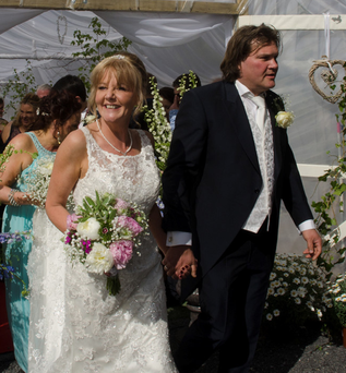 Marilyn O'Connor and Paulus Ungerechts after their wedding in a polytunnel in Ballinafad, Co Sligo Photo: Peter Wilcock