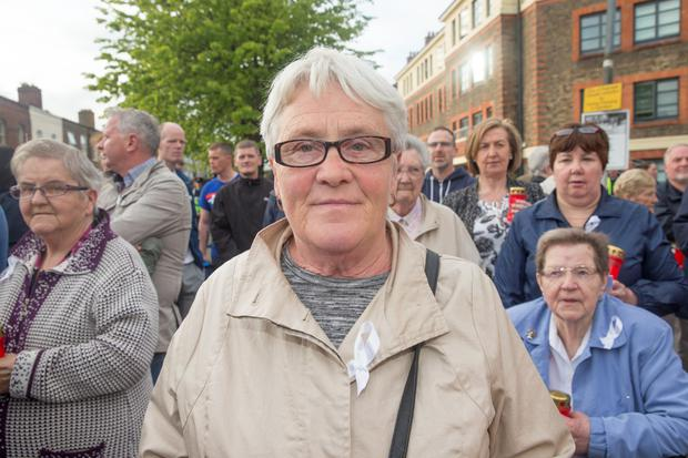 Ann Grimes of Sheriff Street joined the march on Buckingham Street in Dublin. Photo: Arthur Carron