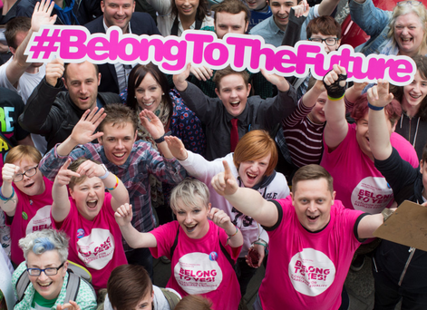 Youth group BeLonG To the Future marks the first anniversary of the passing of the Marriage Referendum at the Outhouse LGBT Community House yesterday Photo: Fergal Phillips