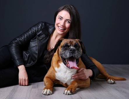 Fitness expert Kelly Donegan and her much-loved pet dog Tyson. Photo: Marc O'Sullivan