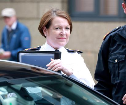 Garda Commissioner Nóirín O'Sullivan arrives at the Policing Authority offices on Dublin's North King Street yesterday. Photo: Frank McGrath