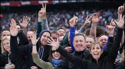 Fans enjoy Bruce Springsteen on stage during The River Tour at Croke Park Photo: Steve Humphreys
