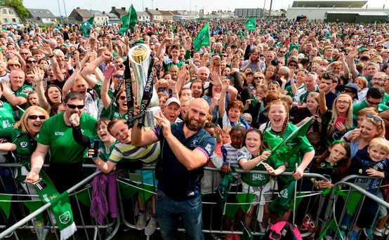 Connacht captain John Muldoon with the trophy Photo: Diarmuid Greene / SPORTSFILE