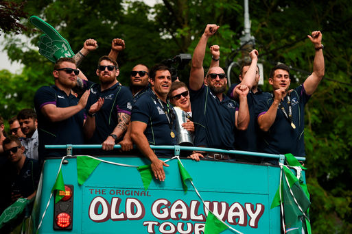 Connacht players including Finlay Bealham, Aly Muldowney, George Naoupu, Ronan Loughney, Jason Harris Wright, John Muldoon, Andrew Browne and Tiernan O'Halloran on the team bus Photo: Diarmuid Greene / SPORTSFILE