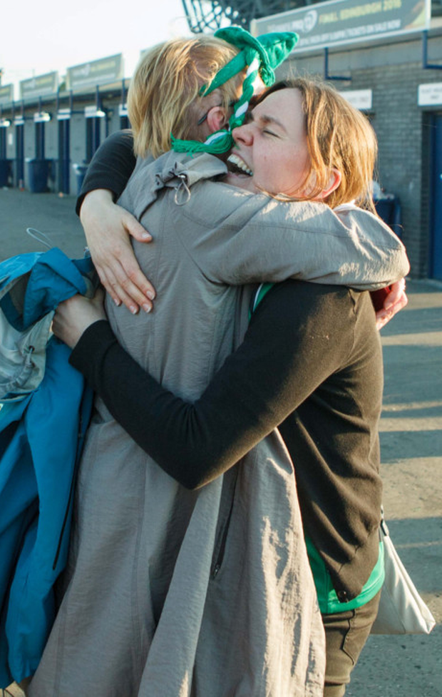 A thrilled Teresa Glynn hugs her cousin Tracey Hind after the match in Edinburgh Photo: Toby Williams