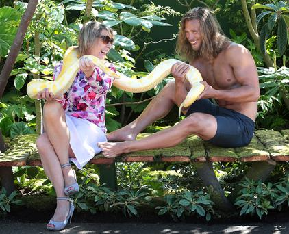 RTÉ's Aine Lawlor and Pavol Ponik in the Legend of Tarzan garden at Bloom Photo: Brian McEvoy
