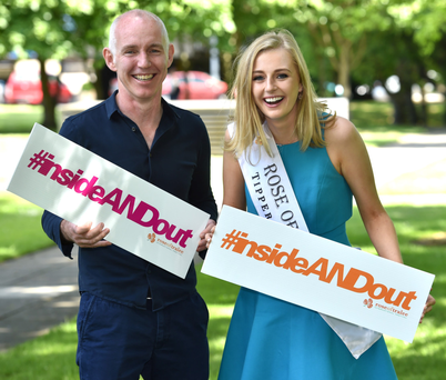 Rose of Tralee Elysha Brennan and Ray D'Arcy at the launch of her social media campaign, #insideandout Photo: Domnick Walsh