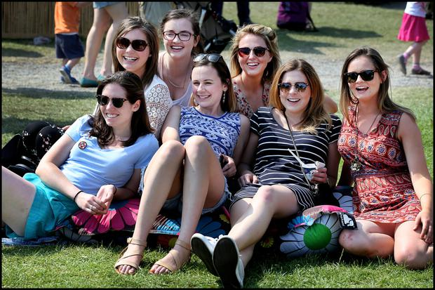Elizabeth Powers, Roisin O'Dwyer, Niamh Lowe, Siobhan Gavagan, Emma Kinsella, Rachel Pierce and Deirdre O'Sullivan enjoy the sun Photo: Steve Humphreys