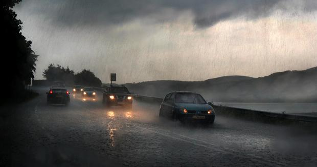 Severe rain causes flooding along the Derry-Buncrana road