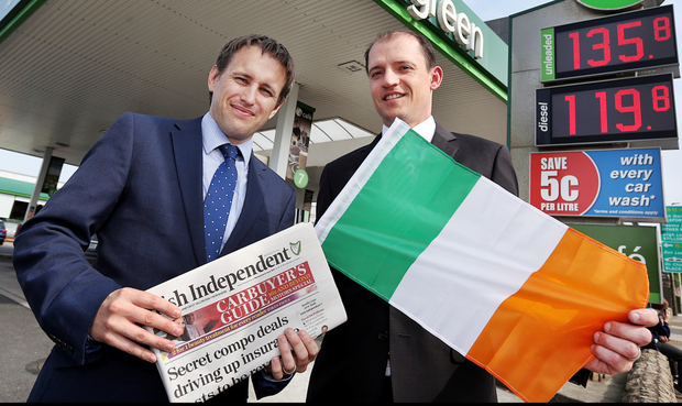 Pictured flying their flags for the Irish squad are John Diviney, director of food systems and trading at Applegreen (right), and David Hartnett, channel sales manager at Independent News and Media. #COYBIG Photo: Steve Humphreys
