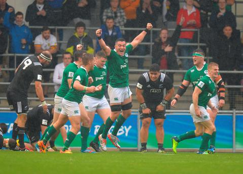 The Irish players celebrates beating New Zealand at the final whistle. Photo: Getty