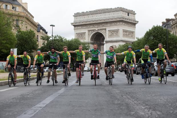 Some of the fans who cycled 700km to Paris from Dublin. Photo Mark Condren