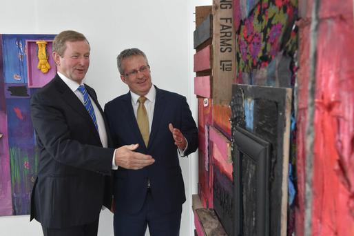 Taoiseach Enda Kenny at Ulster University's Belfast campus with Vice-Chancellor Professor Paddy Nixon