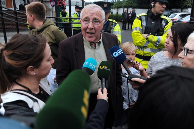 Christy Burke speaks to the media after leaving the meeting. Photo: Caroline Quinn