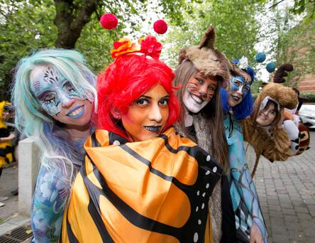 Pictured is Daniela Galindo dressed as a butterfly with other campaigners in Dublin yesterday. Photo: Sam Boal