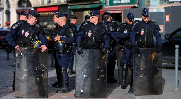 Riot police outside a train station in Lille, where Ireland will play Italy. Photo: PA