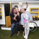Chef Marco Pierre White has a selfie taken with Catherine Dunnion from Letterkenny and Orla Patel from Maynooth at Taste of Dublin